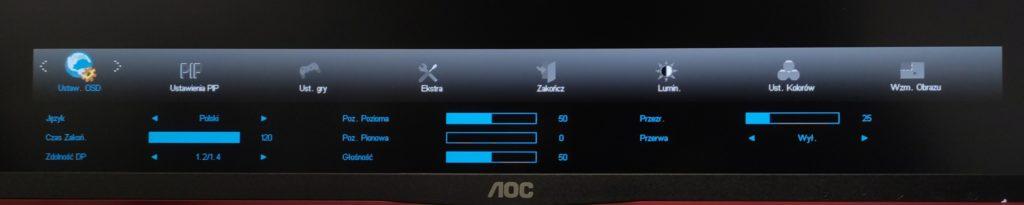 Ustawienia w OSD w AOC U28G2UX