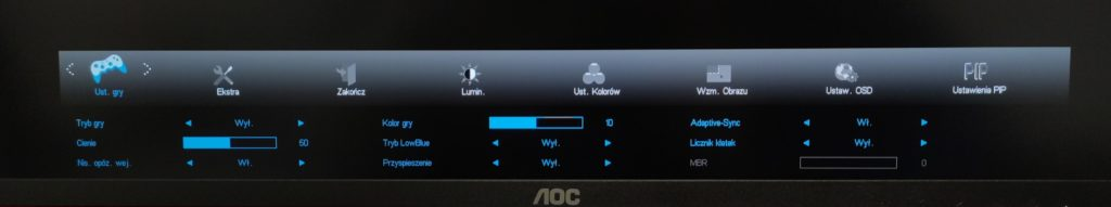 Ustawienia gry w AOC U28G2UX