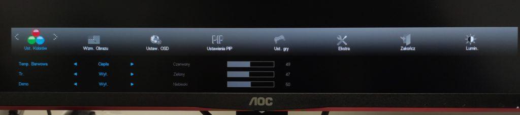 Ustawienia kolorów w AOC U28G2UX