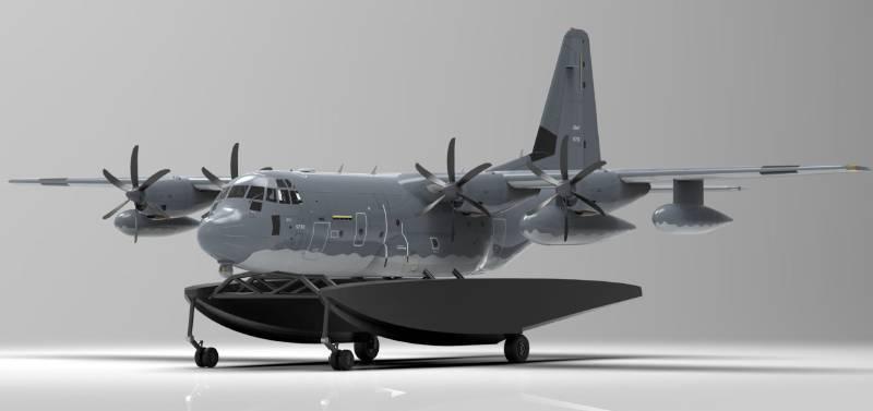 C-130 pływaki z wysuniętymi kołami