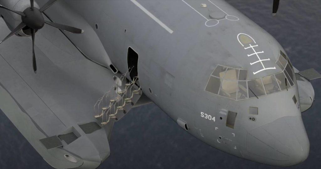 C-130 wodnosamolot widok pływaków