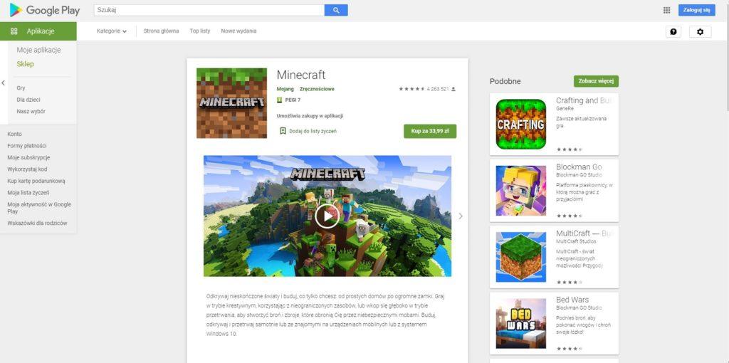 Minecraft zakup sklep play