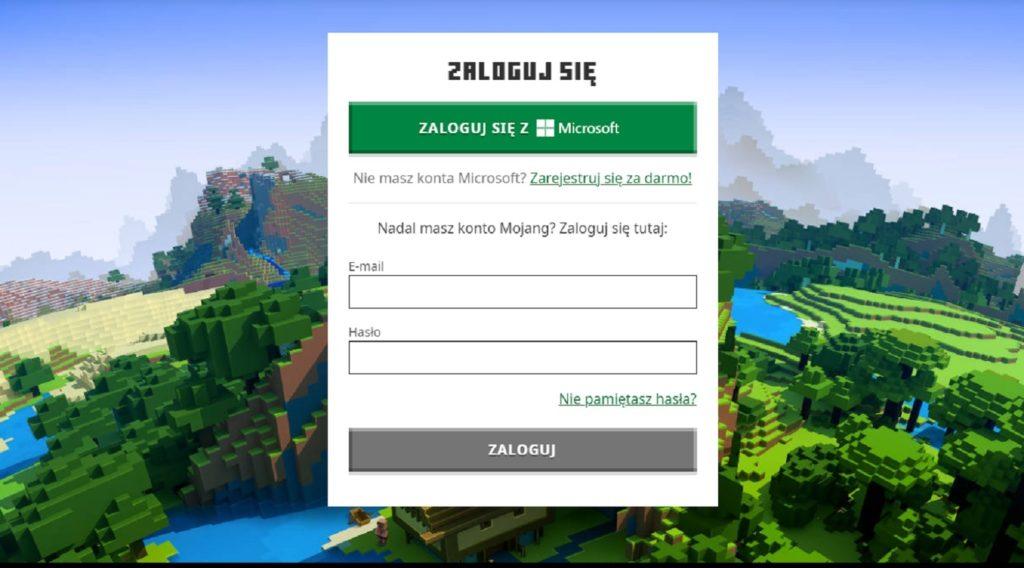 Minecraft strona logowania