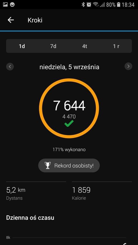 aplikacja Garmin Connect kroki