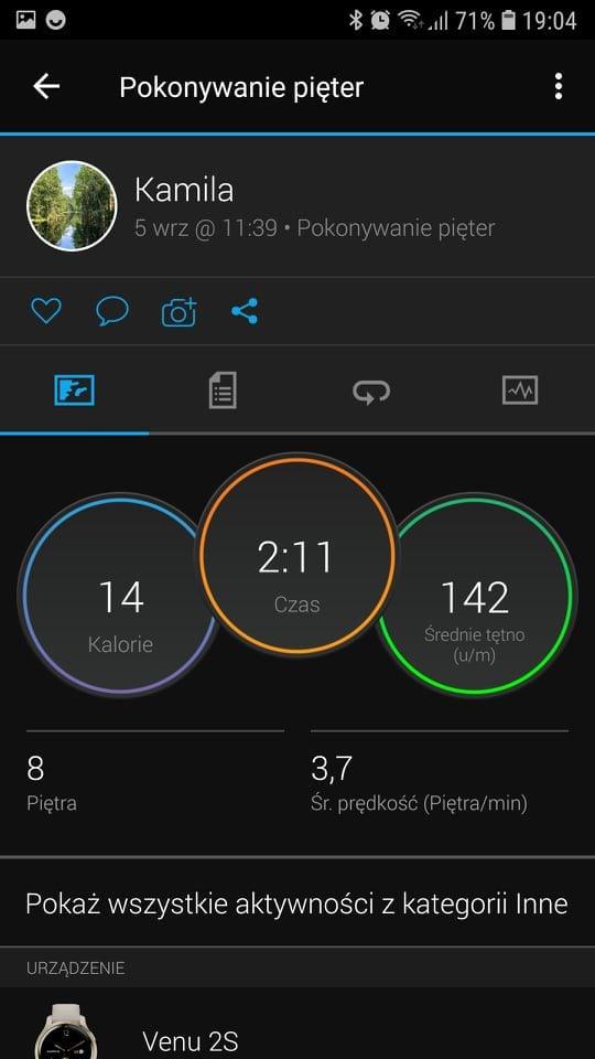 aplikacja Garmin Connect pokonywanie pięter