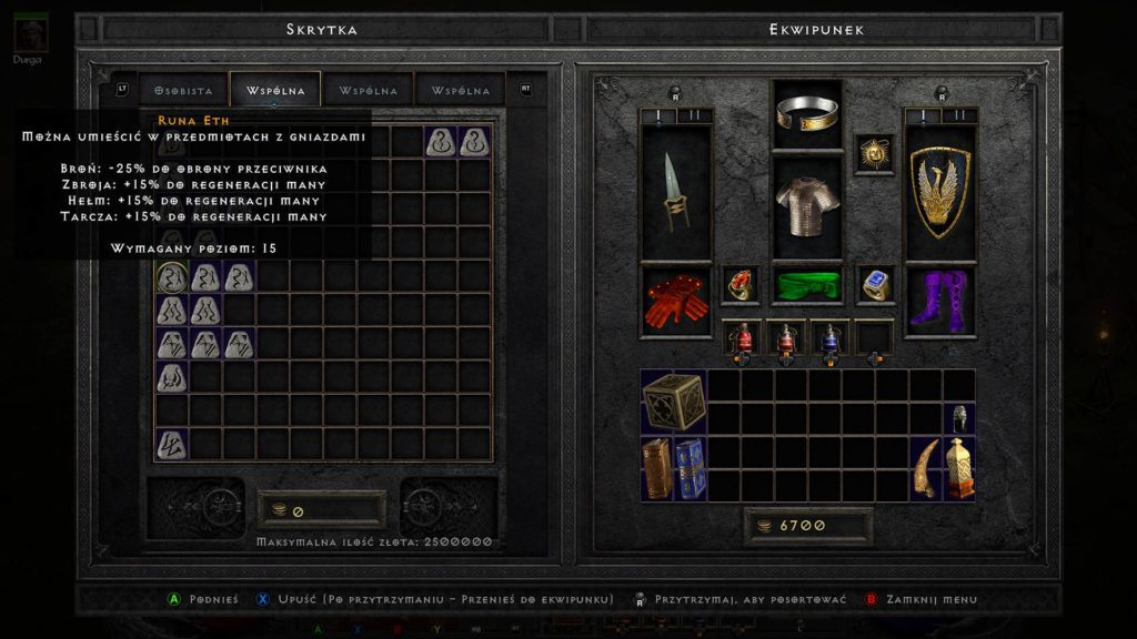 runa eth w skrytce w grze diablo 2 resurrected