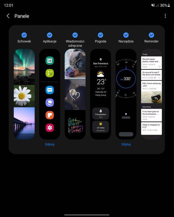 Galaxy Z Fold 3 panel narzędzi