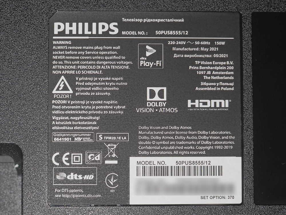 nalepka znamionowa telewizora philips 50pus8555