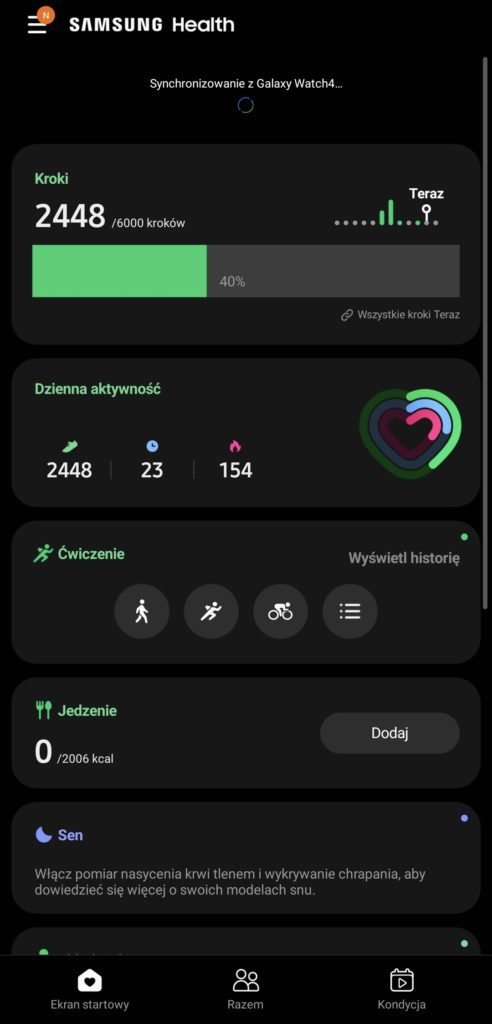 Galaxy Watch 4 aplikacja samsung health treningi