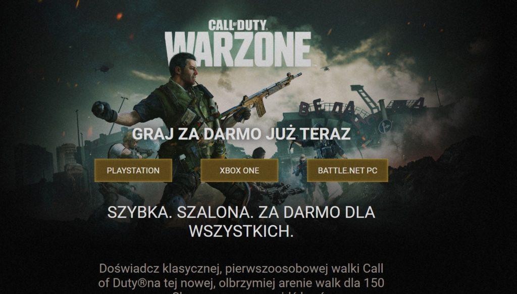CoD Warzone wybór platformy