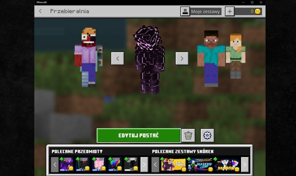 Minecraft przebieralnia