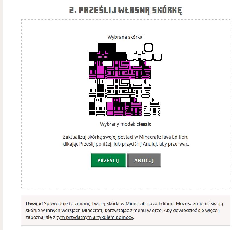 Minecraft przesyłanie skina