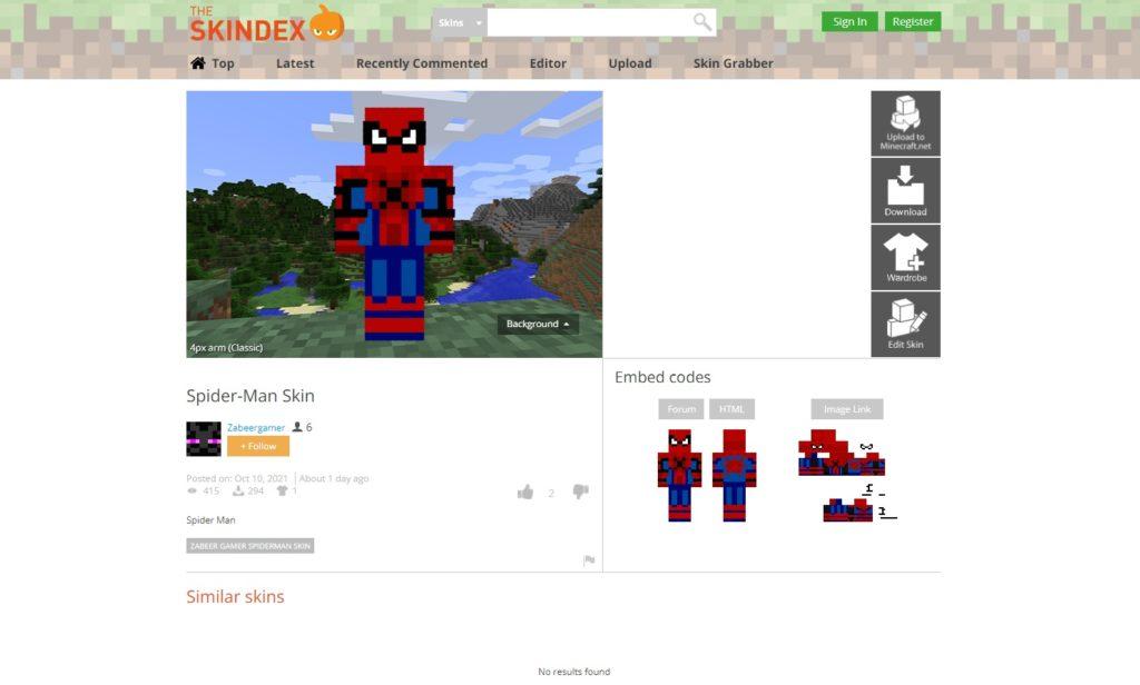 Minecraft skin spiderman