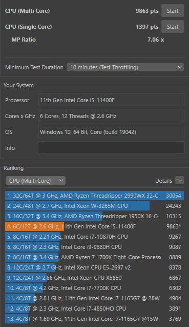 Acer Nitro 50 (2021) cinebench multi