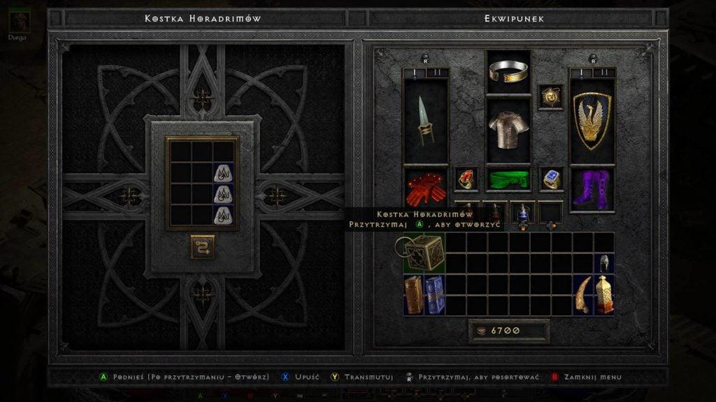 kostka horadrimów w grze diablo 2 resurrected transmutacja 3 run