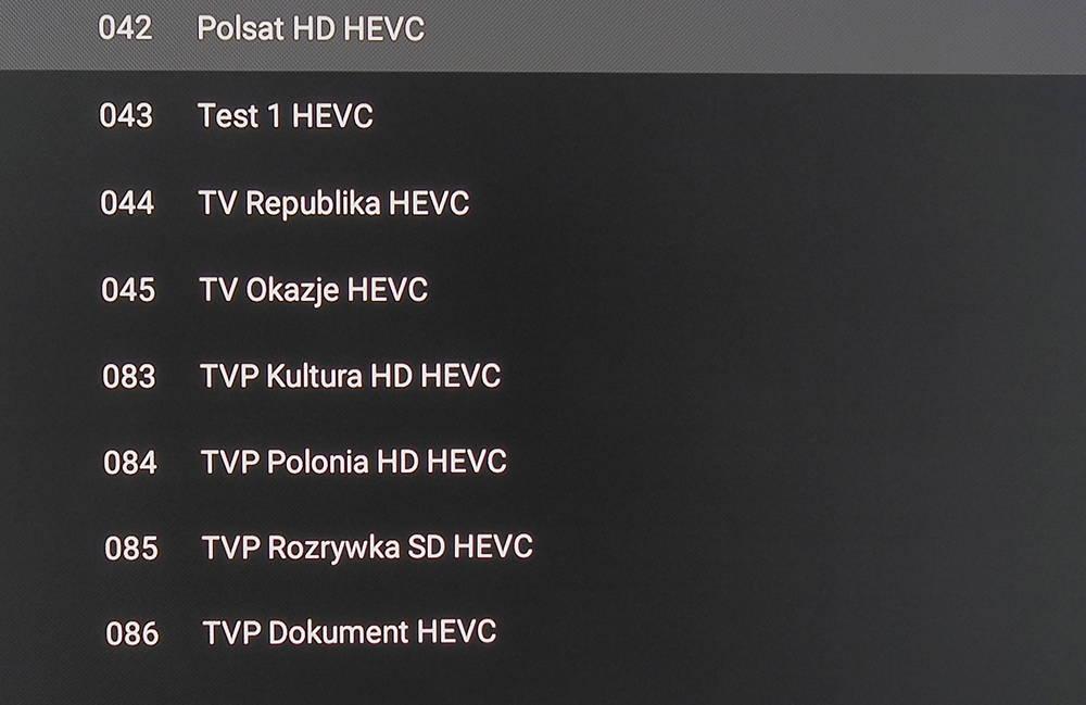 lista kanałów dostępnych w ramach transmisji testowej DVB-T