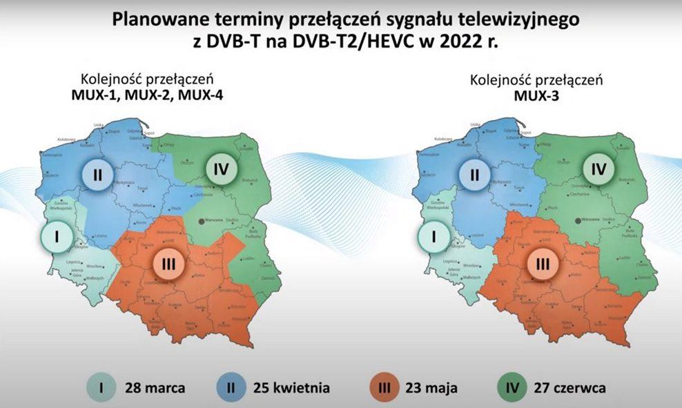 mapa Polski z podziałem na strefy, w których wprowadzana będzie DVB-T2