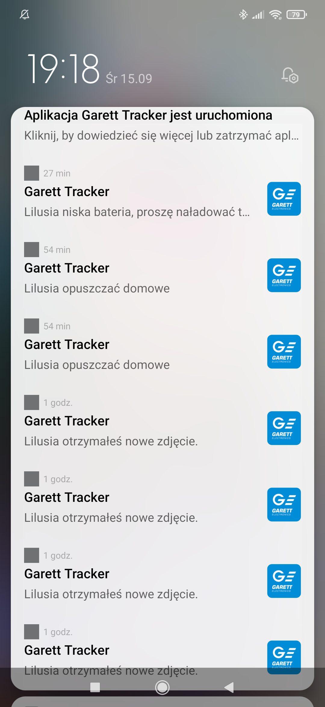 powiadomienia garett tracker