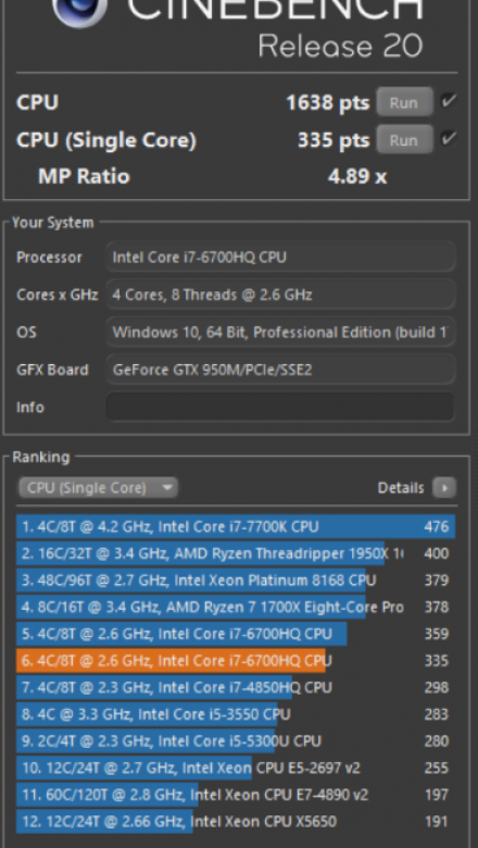 Lenovo Ideapad - cinebench r20 single core