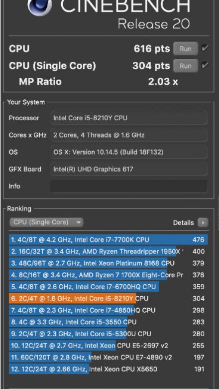 MacBook Air 2018 - cinebench r20 - single core